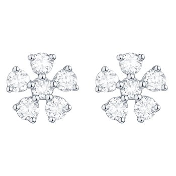 Smiling Rocks 0.53Ct G-H/VS1 Lab Grown Diamond Flower Cluster Stud Earring