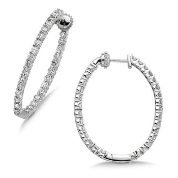 Pave set Diamond Oval Reflection Hoops in 14k White Gold (2ct. tw.) JK/I1