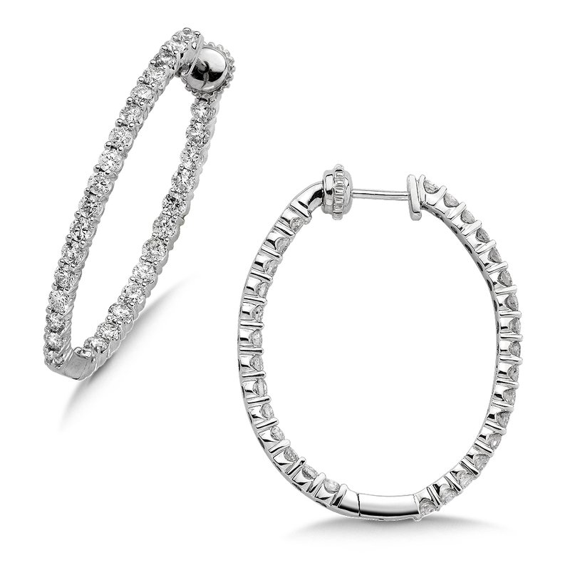 SDC Creations Pave set Diamond Oval Reflection Hoops in 14k White Gold (2ct. tw.) JK/I1