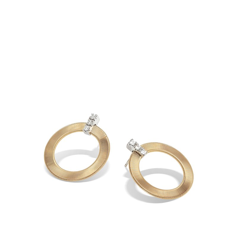 Marco Bicego Masai Yellow Gold and Diamond Front Facing Hoops