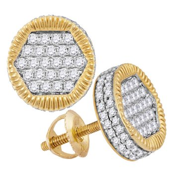 10kt Yellow Gold Mens Round Diamond 3D Circle Cluster Stud Earrings 3/4 Cttw