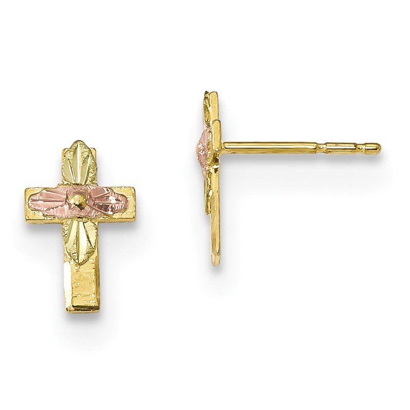 Quality Gold 10k Tri-Color Black Hills Gold Cross Earrings