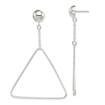 Sterling Silver Triangle Dangle Post Earrings