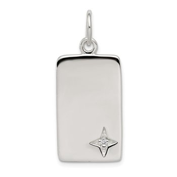 Sterling Silver CZ Polished Rectangle Charm