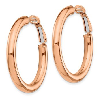 14k Rose Gold 4x25mm Polished Round Omega Back Hoop Earrings