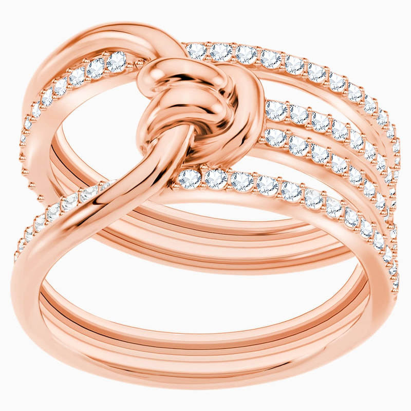 Swarovski Lifelong Wide Ring, White, Rose-gold tone plated