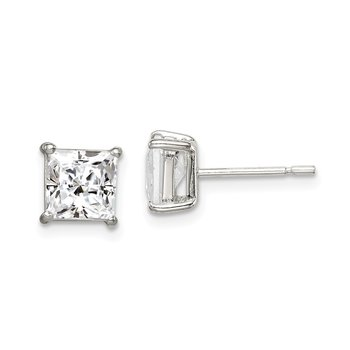Sterling Silver Polished 6mm Princess CZ Post Earrings