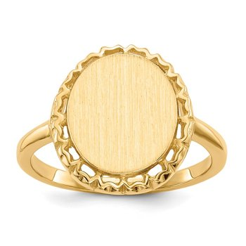 14k 12.5x11.0mm Open Back Signet Ring