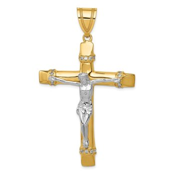 14k Two-tone CZ Crucifix Pendant