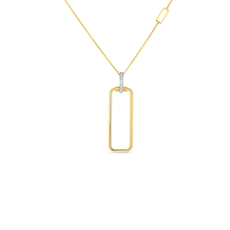 Roberto Coin 18K Rectangular Pendant W. Dia Bale On Chain