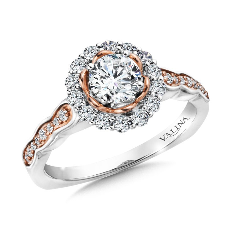 Valina Halo Engagement Ring Mounting in 14K White/Rose Gold (.33 ct. tw.)