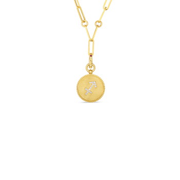 18K DIAMOND SAGITTARIUS ZODIAC MEDALLION PENDANT W. COIN EDGE ON PAPER CLIP CHAIN