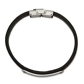 Stainless Steel Polished Leather 8.5in ID Bracelet