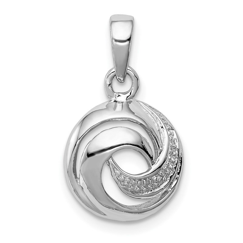 Quality Gold Sterling Silver Rhodium Plated Diamond Swirl Pendant
