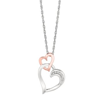 Silver Diamond .03ct Interlocked Hearts Necklace