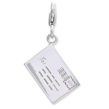 Sterling Silver Amore La Vita Rhodium-plated Polished Letter Charm