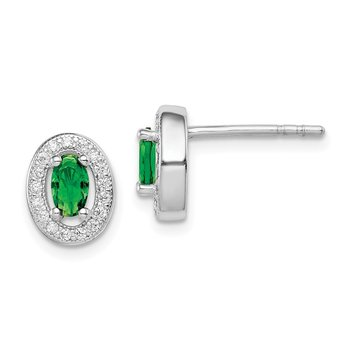 Sterling Silver Rhod-plated w/ Green and White CZ Oval Stud Earrings