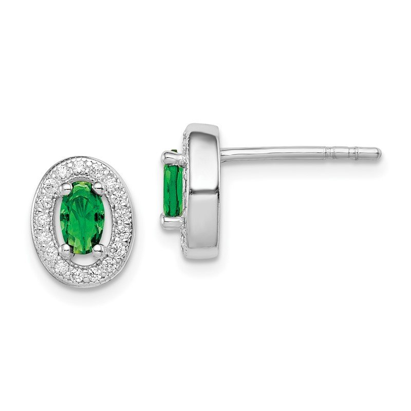 Quality Gold Sterling Silver Rhod-plated w/ Green and White CZ Oval Stud Earrings