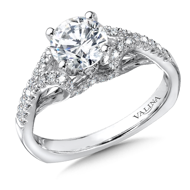 Valina Bridals Mounting with side stones .31 ct. tw., 1 ct. round center.