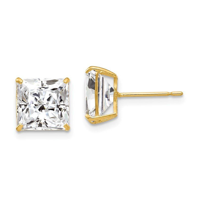 Quality Gold 14k 8mm Square CZ Post Earrings