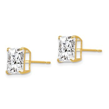 14k 8mm Square CZ Post Earrings