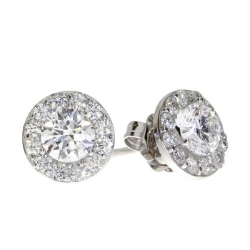 14K White Gold .79 ct Diamond Halo Stud Earrings