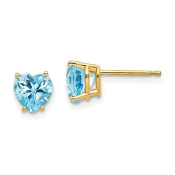 14k 6mm Heart Blue Topaz Earrings