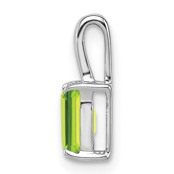 Sterling Silver Rhodium Plated Peridot Rectangle Pendant