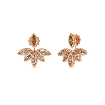 18KT GOLD BROWN DIAMOND STUD EARRING WITH FAN JACKETS