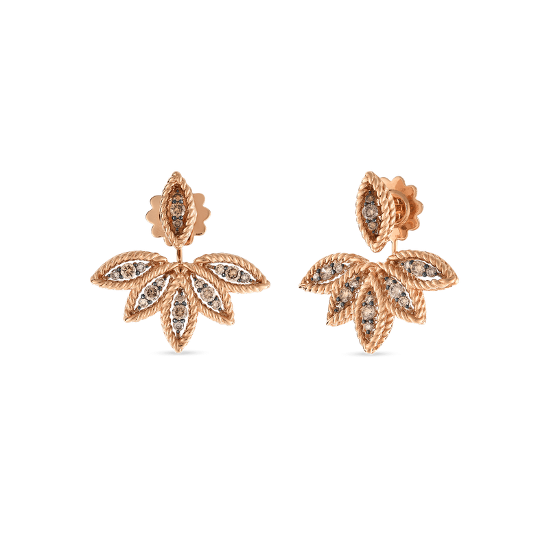 Roberto Coin Brown Diamond Stud Earring With Fan Jackets