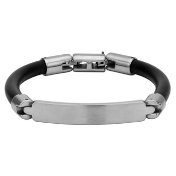 Matte Finished Steel Bar ID Rubber Engravable Bracelet