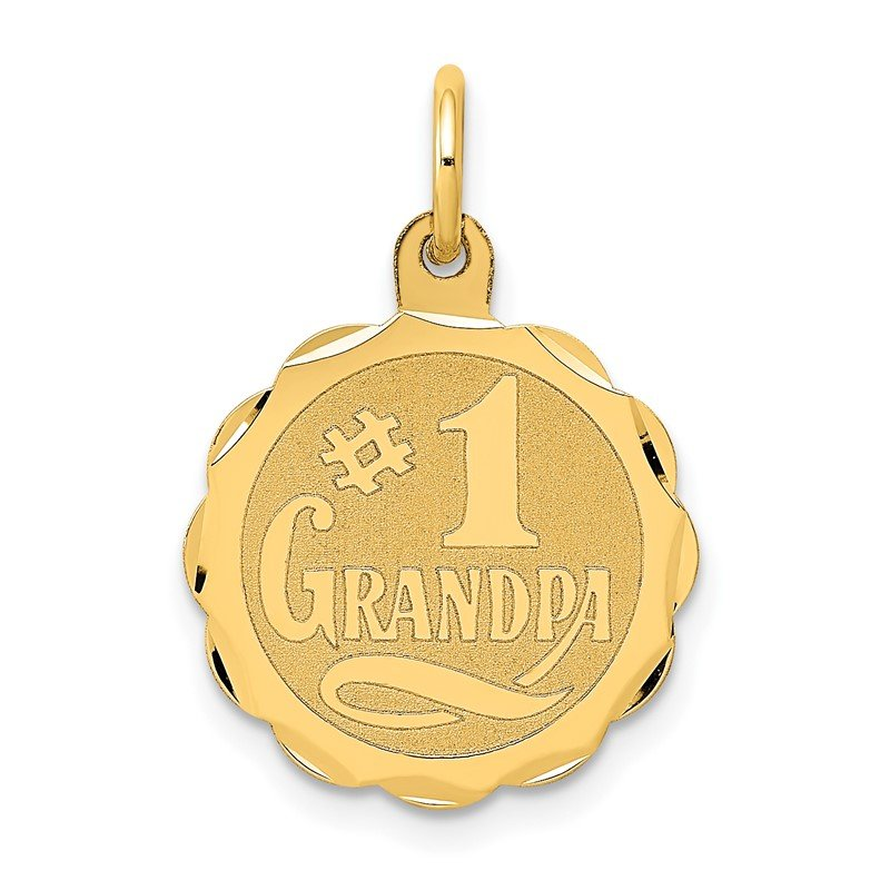 Quality Gold 14k #1 GRANDPA Disc Charm