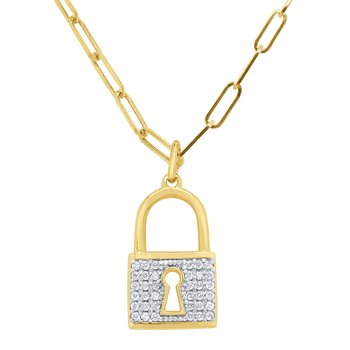 14k Gold and Diamond larch Padlock on Paperclip Chain