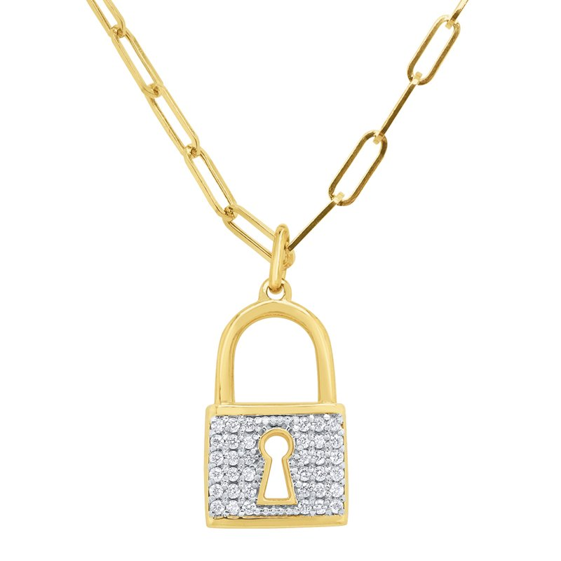 KC Designs 14k Gold and Diamond larch Padlock on Paperclip Chain