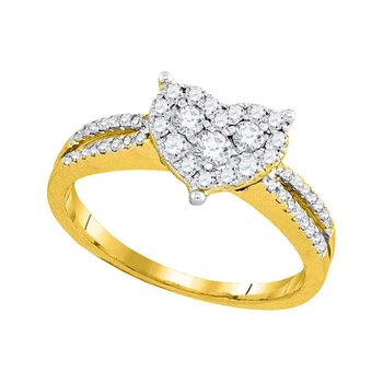 14kt Yellow Gold Womens Round Diamond Heart Cluster Split-shank Ring 1/2 Cttw