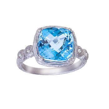 14k White Gold Cushiom Cut Blue Topaz and Diamond Ring