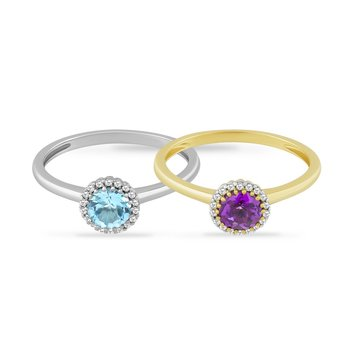 14K RING WITH ROUND BLUE TOPAZ OR AMETHYST & 18 DIAMONDS 0.06CT