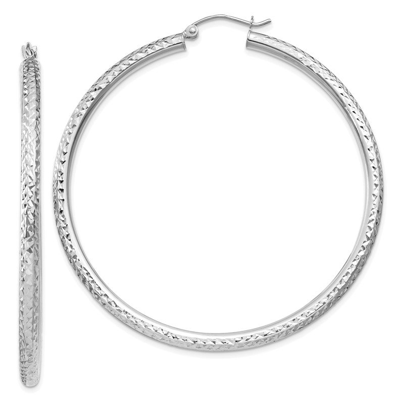 Quality Gold 14k White Gold Diamond-cut 3mm Round Hoop Earrings