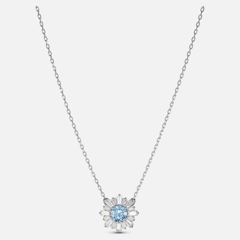 Swarovski Sunshine Pendant, Blue, Rhodium plated