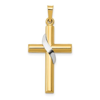 14K Two-Tone Hollow Cross w/Drape Charm