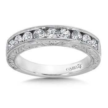 CARO 74 Channel-Set Diamond Anniversary Band with Milgrain and Hand Engraved Detailing in 14K White Gold