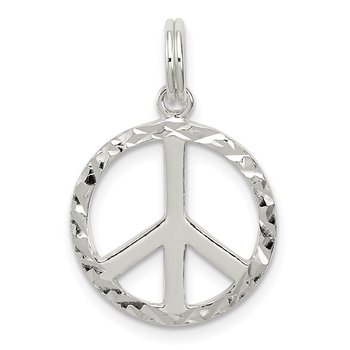 Sterling Silver Diamond-Cut Peace Symbol Charm