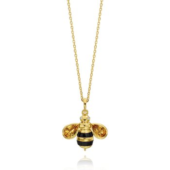 "Honeybee ""B"" Diamond & Citrine Honeybee Pendant P313BY"