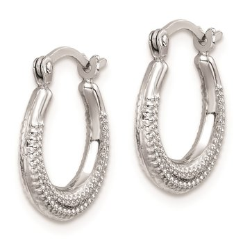 Sterling Silver Rhodium-plated Textured Hollow Hoop Earrings