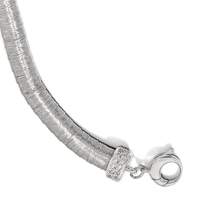 Leslie's Leslie's Sterling Silver Rhodium-plated CZ with 1in ext. Bracelet