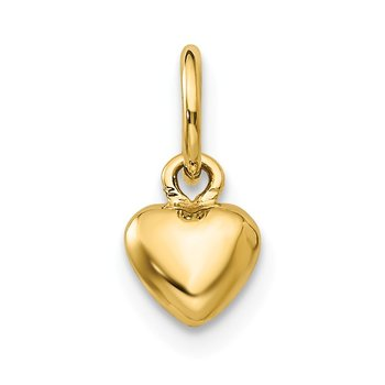 14k Solid Polished Plain Puffed Heart Charm