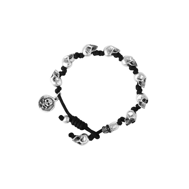 King Baby Black Knotted Cord Bracelet W/ Small Skulls