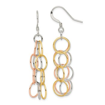 Sterling Silver Tri-color Vermeil Polished Dangle Earrings