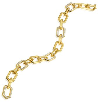 "Honeybee ""B"" Alternating Diamond Pavé Link Bracelet B313D5G"