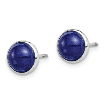 Sterling Silver Rhodium-plated 7mm Lapis Post Earrings